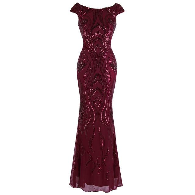 Angel-fashions Bateau Cap Sleeve Floral Sequin Sheath V Back Evening Dress 378