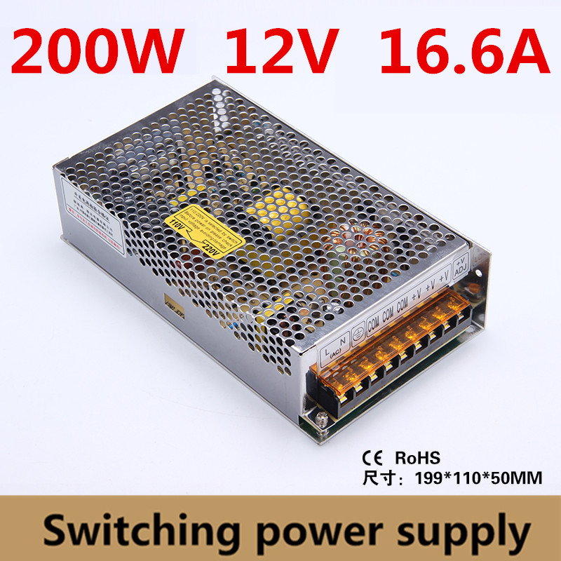 200W 12V 16.6A Single Output Switching power supply for LED Strip CNC 3D Print,equipment power supply Input ac 110-220V image