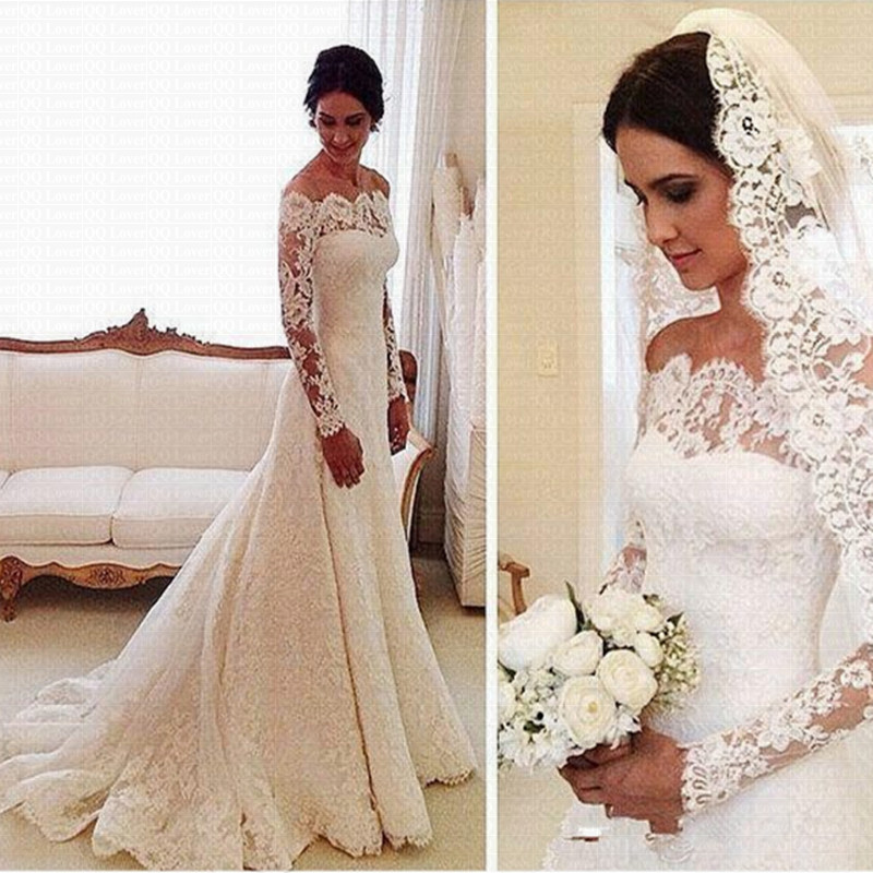Cheap Vestido De Noiva Long Sleeves Lace Wedding Dress 2019 Bridal Marriage Dress Vestido De Casamento Robe De Mariage