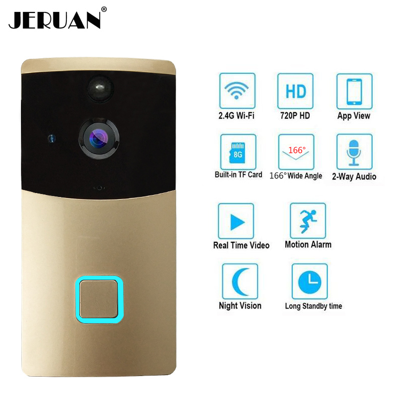 JERUAN Smart Wireless video doorbell intercom system WiFi Video Doorbell Security Camera with PIR Motion Detection 720P HD zilnk video intercom hd 720p wifi doorbell camera smart home security night vision wireless doorphone with indoor chime silver