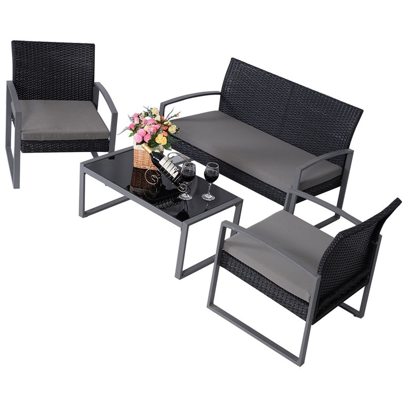 4 Pcs Patio Cushioned Rattan Seat Modern Outdoor Garden Furniture Table And Chair Cushions For Comfortable Seats HW51714