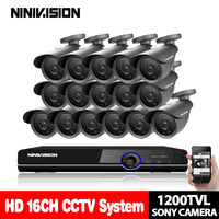 Home 16ch AHD 1080P HDMI Output 16 channel Hybrid DVR NVR CCTV security indoor outdoor SONY CCD 1200TVL 1.0MP Camera CCTV Kits