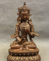 USPS To USA S1197 9 Tibet Bronze Buddhism 7 Eyes White Tara Goddess Statue Maitreya Buddha