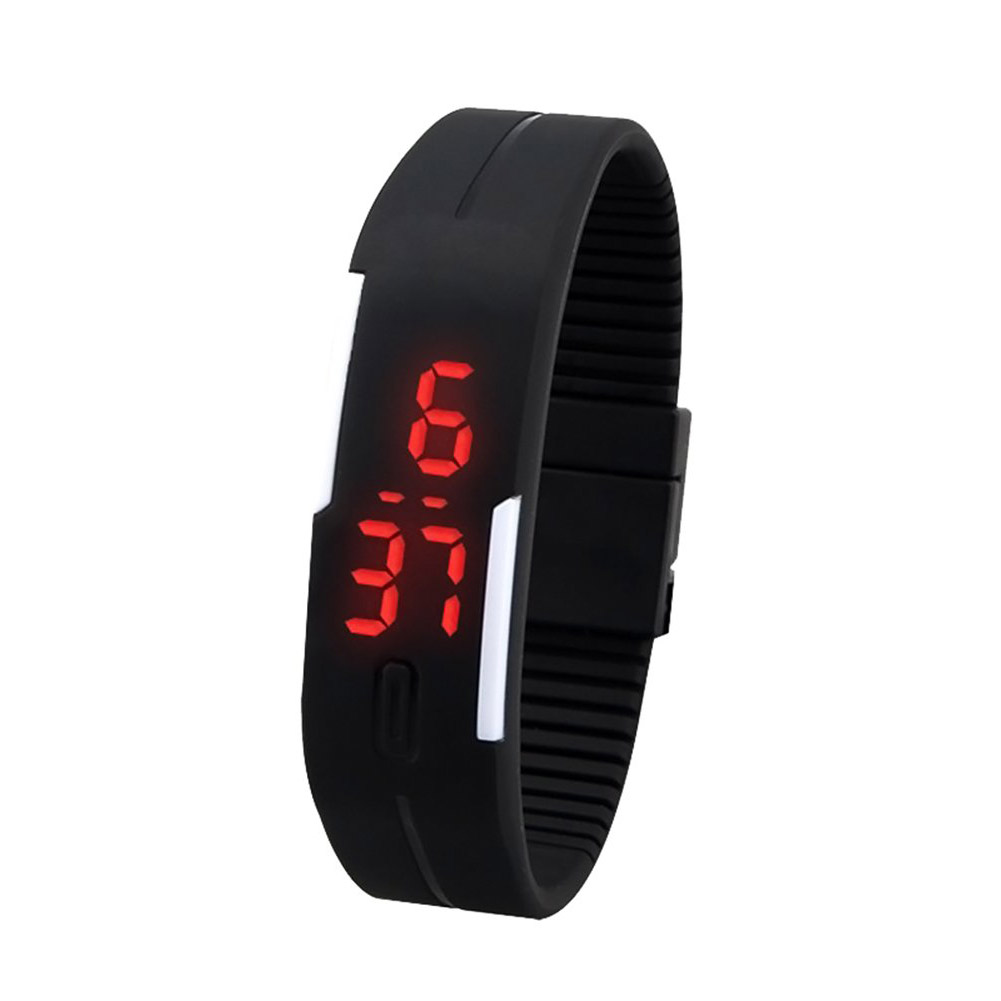 YCYS!Men's Women's Silicone Red LED Touch Digital Wrist Watch Bracelet Black