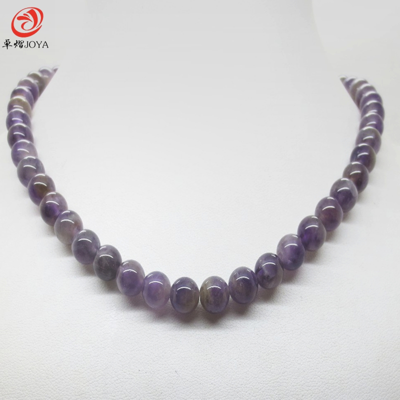Natural Amethyst necklace magnetic clasp 8 MM semi precious stone round beads wedding jewelry for women colar collar amatista