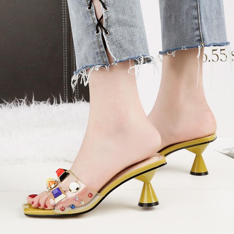 2019 стильные летние женские туфли на высоком каблуке 6