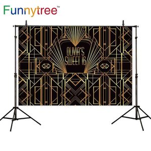 Image 1 - Funnytree backdrop golden Great Gatsby sweet 16 customize decorations photo background for birthday party wallpaper photophone