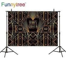 Funnytree fundo dourado grande gatsby doce 16 personalizar decorações foto fundo para festa de aniversário papel de parede photophone