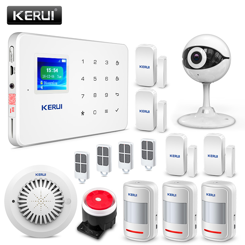 KERUI G18 Wireless GSM Burglar Home Security Alarm System Android IOS APP Remote Control With IP Camera Smoke Detector