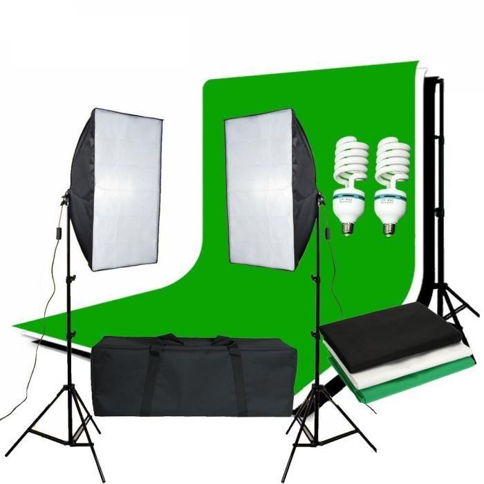 ZUOCHEN Photo Studio Softbox Kit d'éclairage continu fond boîte souple Support de lumière + 3 décors + 2*2M Kit de Support de toile de fond