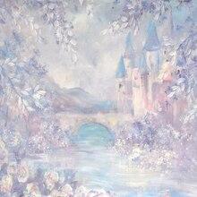 Huayi nova pintura a óleo chegada castelo fotografia pano de fundo para os estúdios recém-nascidos cenário d-8590