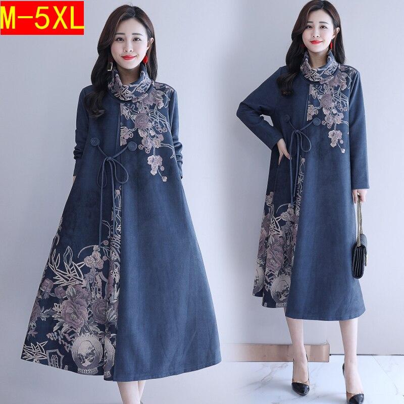 Automne hiver femmes Robe Vintage col roulé à manches longues Floral imprimé dames décontracté lâche Robe robes robes grande taille 5XL - 2