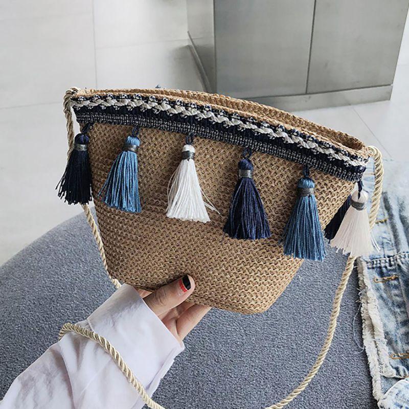 Handmade Woven Beach Cross Body Bag Bohemia 2019 Summer Fashion Tassels National Style One Shoulder Bag