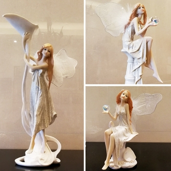 Europe Flower Fairy Beauty Angel Figurines Decoration Resin Home Crafts Desktop Cute Ornament Birthday Wedding Gift Accessories