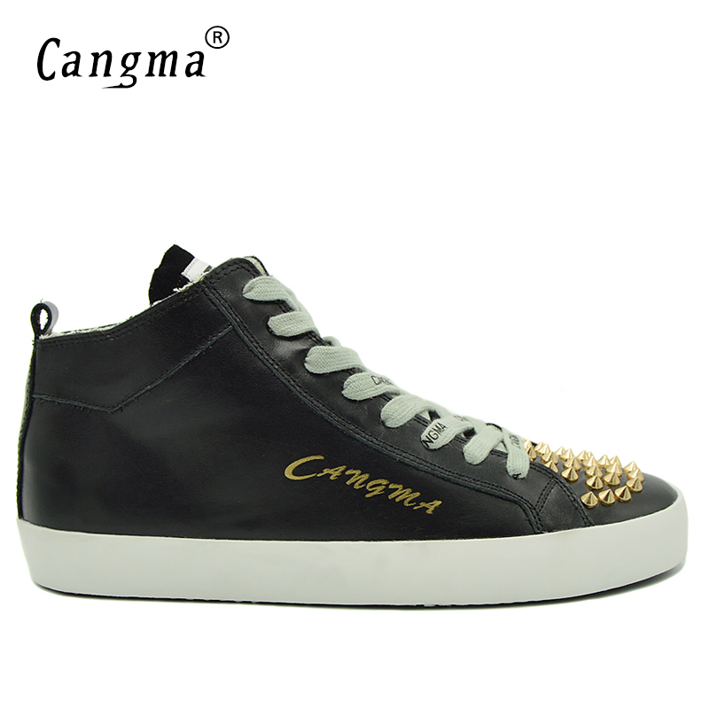 CANGMA Luxury Durable Shoes Man's Rivets Lace Up Scarpe Casual Shoes Mid Black Genuine Leather Sneakers Men Flats Male Footwear cangma original newest woman s shoes mid fashion autumn brown genuine leather sneakers women deluxe casual shoes lady flats