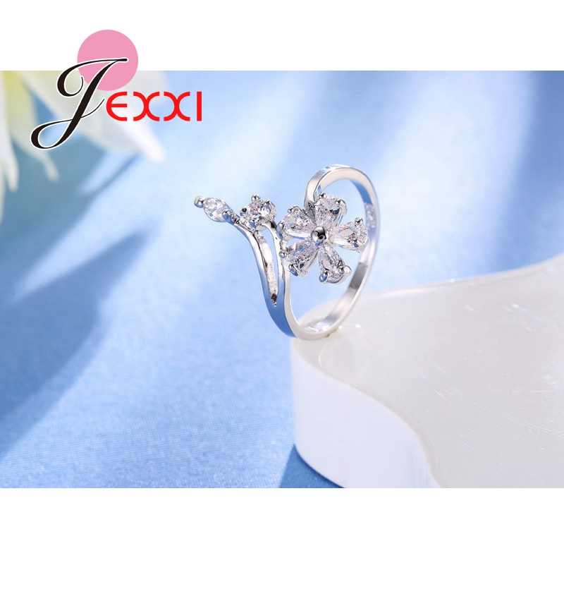Original 925 Sterling Silver Jewelry for Women Wedding Bride Exquisite Flower Rings AAA+ Cubic Zirconia Female Bague 4