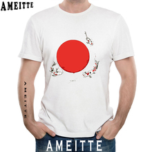 dc28b6dc AMEITTE Japan Casual Style Summer Short Sleeve Koi Fish Sun Watercolor  Print T-Shirt