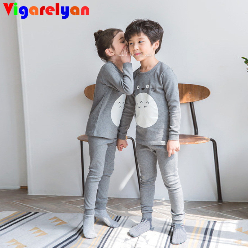 Plus Velvet Thick Thermal Underwear Suits for kids Winter Children Clothes Little Girls Warm Thermal Pajamas Sets Kids Top+Pants di guo bao wang double sided with velvet men s thermal underwear suits grey size xl