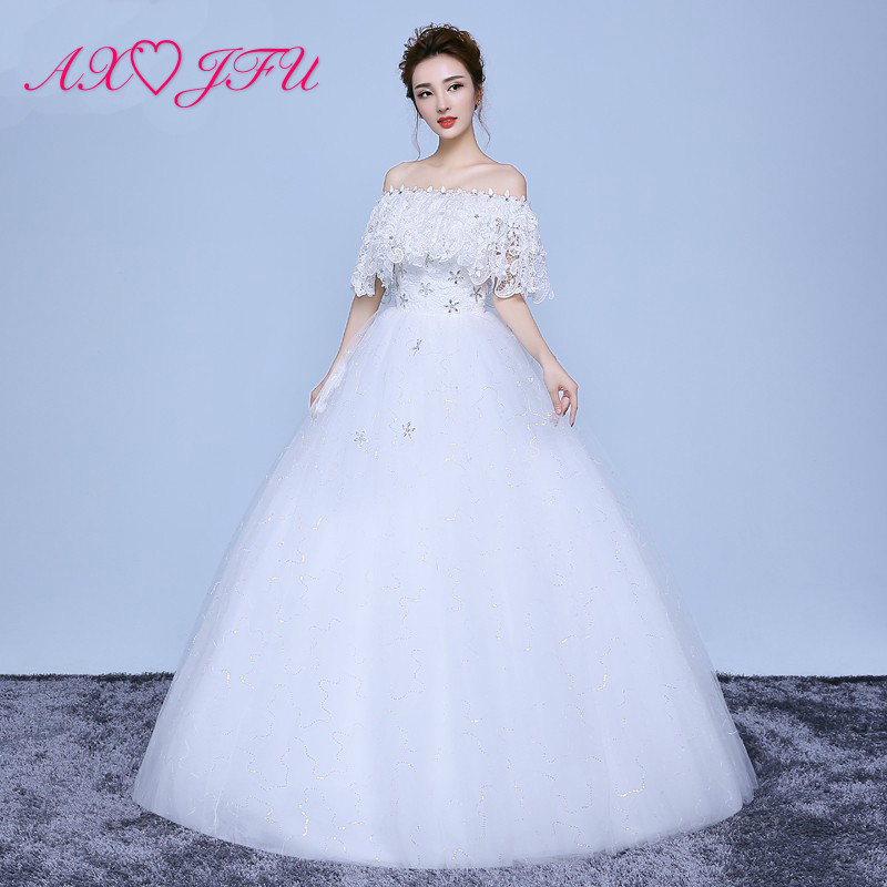 AXJFU flower white princess wedding Dress boat neck luxury wedding Dress dubai vintage beading wedding dress