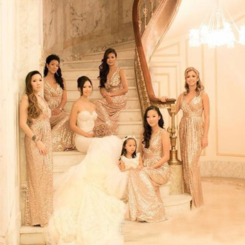 2016 Rose Gold Sequins Maid Of Honor Bridesmaid Dresses V Neck A Line Gold prom  dresses Wedding Party Dresses Plus size F072-in Bridesmaid Dresses from ... 167572295