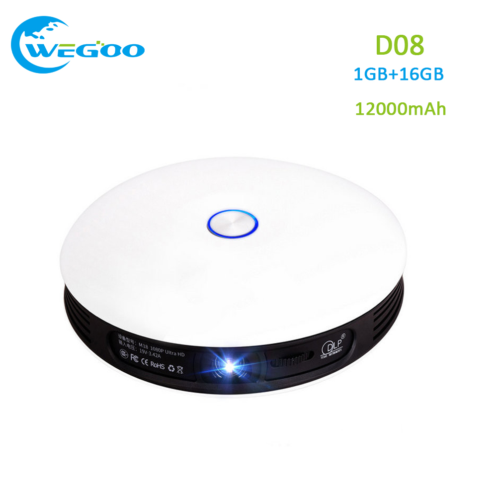 D08 DLP Projector Android 4 4 OS 1080P Throw 300inch Screen 1280x720 Resolution dual WiFi 12000mAh