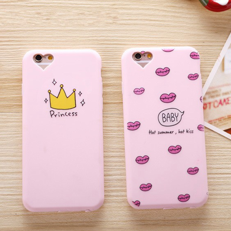20e782b50aa71 ᗜ LjഃCase for iphone 5s Cute Soft Pink Kiss Crown Luxury lovely ...