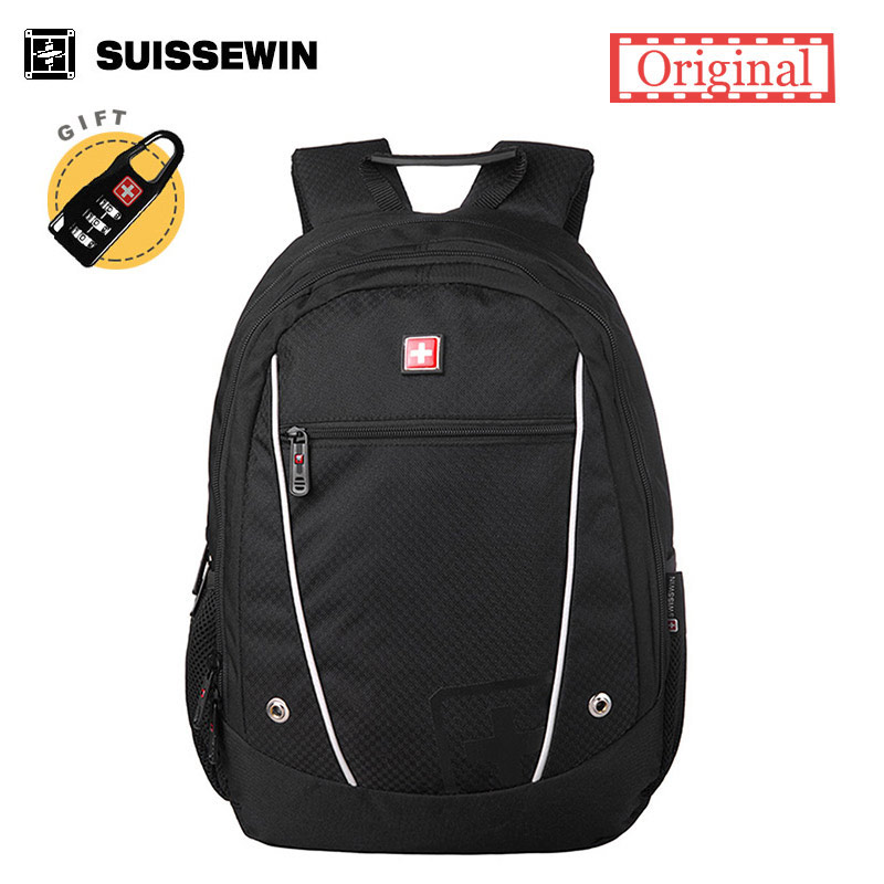 все цены на  New Suissewin School Backpack Swissgear wenger Sports multifunctional Schoolbag Waterproof Outdoor Stylish Black Red Backpack  онлайн
