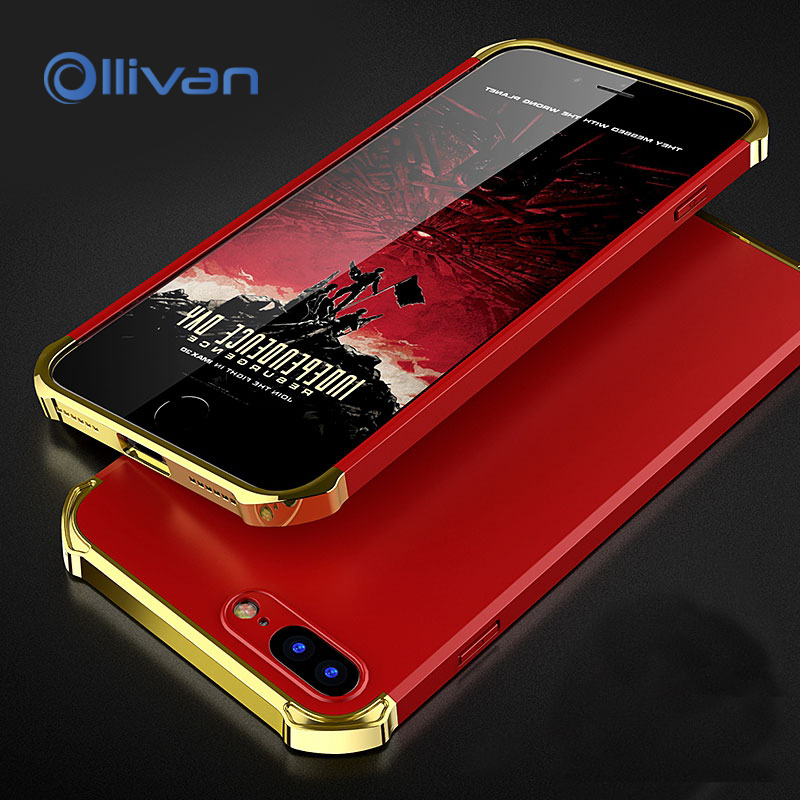 OLLIVAN for iphone 8 7 case luxury hybrid 3 in 1 Hard plastic plating full protection back cover For apple iphone 7 8 plus capa