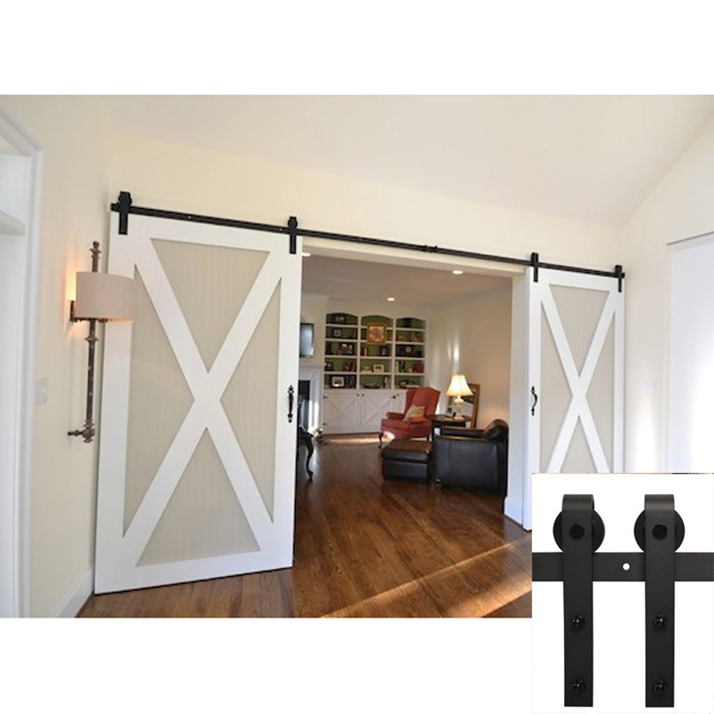 75 Ft American Barn Door Hardware Sliding Two Door Black Steel