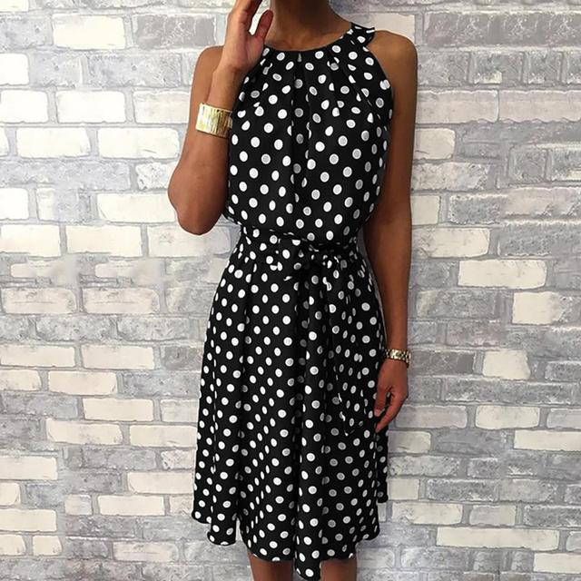 Feitong Women Halter Dress Summer Fashion Polka Dot Knee-Length Dress Sleeveless Dresses Off Shoulder Casual Loose Dress 2019