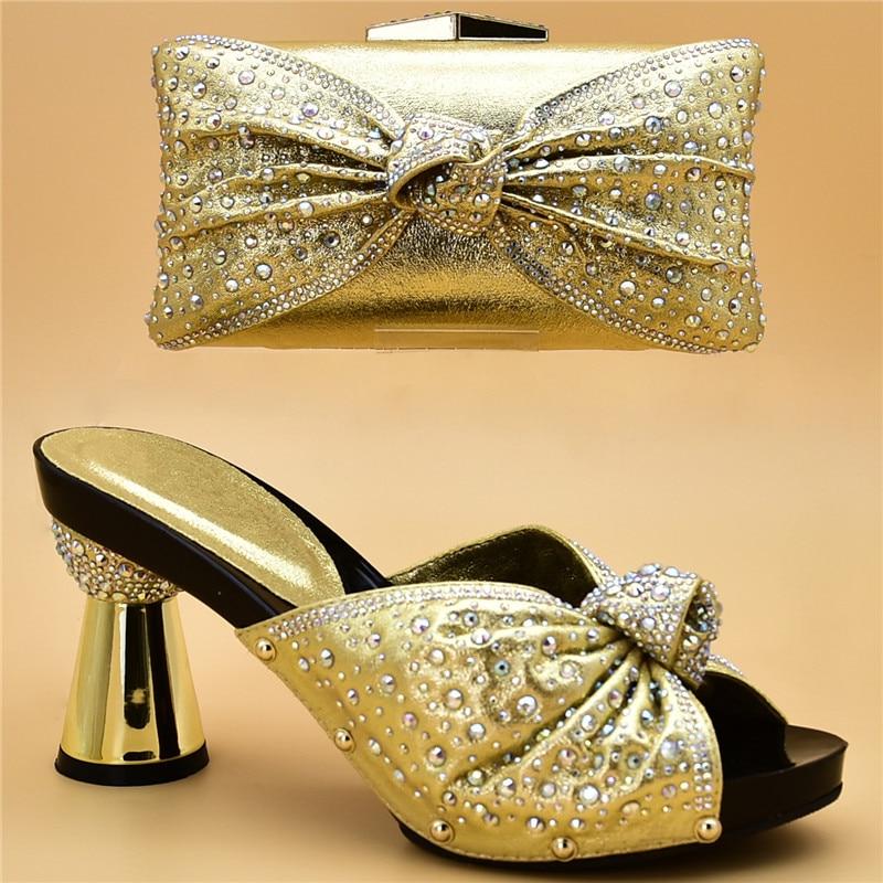 Bolsa Nigeriano Con plata Bolsas Decorado La Y Para oro Diseño Boda Último Moda Matching Africano Mujeres Negro Conjunto Zapatos Rhinestone rojo El 6q7Fzx