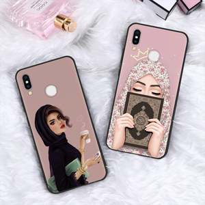 Image 1 - Muzułmanin islamski Gril oczy arabski hidżab dziewczyna Case dla Huawei P inteligentny 2019 P30 P20 Mate 20 10 Lite Pro P9 P8 P10 Lite 2017 silikon