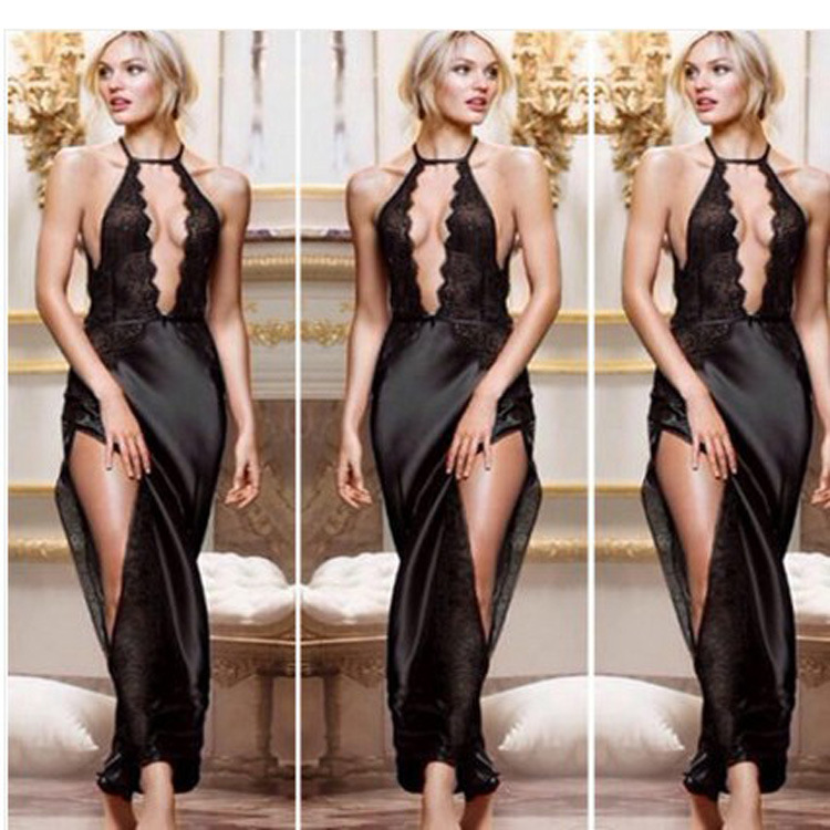 2017 New Arrival Erotic Sexy Sleepwear Female Temptation See Through Women's Summer Lace Nightgowns Underwear Sexy Lingerie Hot