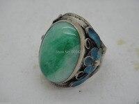 XFS20141er> Koleksiyon İşi Yeşil taş Tibet Gümüş Emaye Işi Çiçek Halkasını Ayarlayın