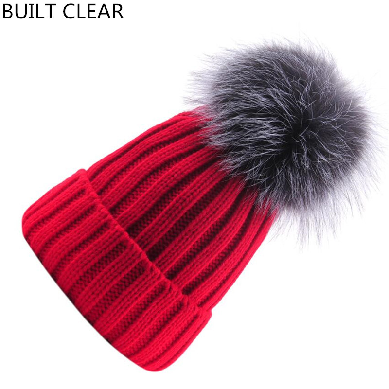 (BUILT CLEAR) Balaclava Russian Royal Mink Fur Hat for Women Brand Winter Knit Mink Fur Cap with Pom Pom Fox Fur Women 'warm hat foreign trade explosion models in europe and america in winter knit hat fashion warm mink mink hat lady ear cap dhy 36