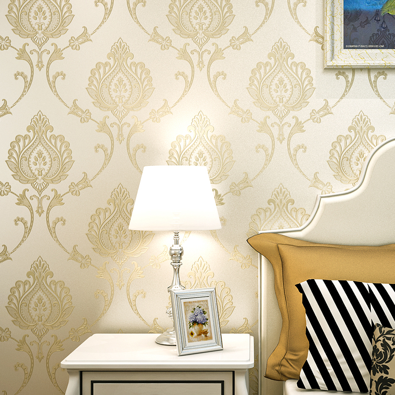 European Style 3D Relief Non-woven Damask Wallpaper For Walls Roll Wall Papers Home Decor Living Room Bedroom TV Background Wall modern wall papers home decor rustic romantic small flower non woven wallpaper roll for bedroom wallpapers floral for walls
