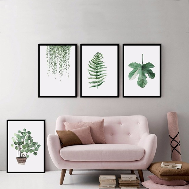 Green Plant Leaves Wall Canvas Painting Prints Art Pictures No Frame Living Room Modern Home