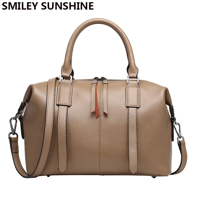 SMILEY SUNSHINE cow genuineleather women purses and handbags ladies high quality designer boston shoulder bag big