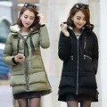 Abajo de la capa de Maternidad 2016 invierno nuevas mujeres Coreanas embarazadas vestido grueso acolchado de invierno militar chaqueta abajo capa grande de las yardas