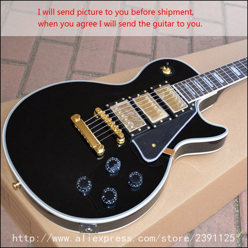 buy new brand electric guitar lp custom 3 pickups black guitars high quality. Black Bedroom Furniture Sets. Home Design Ideas