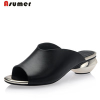 Asumer 2017 Genuine Leather Shoes Summer Sandals Solid Big Size 32 42 Low Heels Shoes Fashion