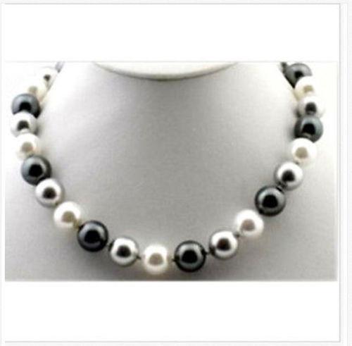 elegant 10-11mm freshwater white black grey multicolor pearl necklace 18inch 14kelegant 10-11mm freshwater white black grey multicolor pearl necklace 18inch 14k