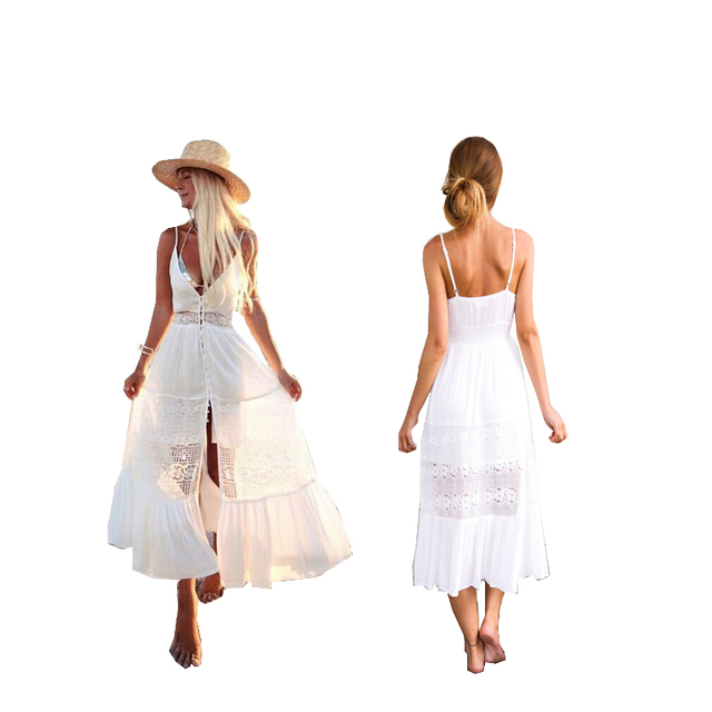 5a6ed635378 Women Summer Vintage White Boho Long Maxi Dress Party Sleeveless V-Neck  Beach Dress Floral Sundress Vestido