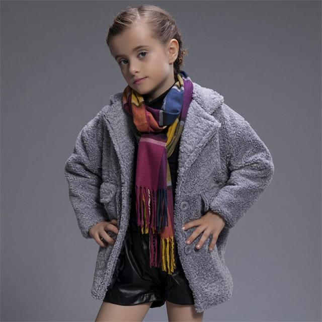 2016 Fashion Design Little Girl Wool Cashmere Coat Jacket Winter Kid Girls Thicken Warm Woollen Parker Outwear for 3-7yrs