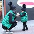 2016 НОВЫЕ Дети жилет мать и дочь зимой жилет семья посмотрите соответствия мать дочь одежда зимняя мода теплое пальто жилет