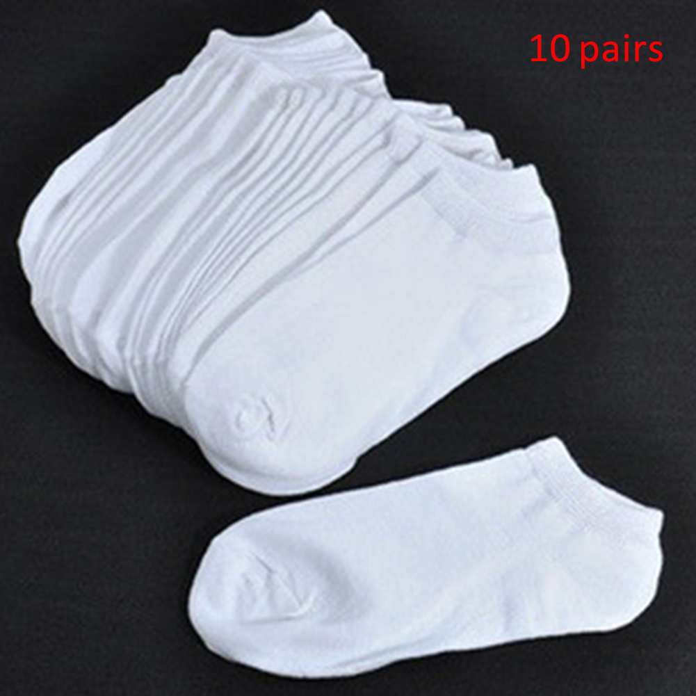 Boat Socks Black-Blend Comfortable White Solid-Color Cotton 10-Pairs