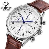 OCHSTIN Men Watches Top Brand Luxury Leather Business Quartz Chronograph Watch Men Sport Wrist Watch Male