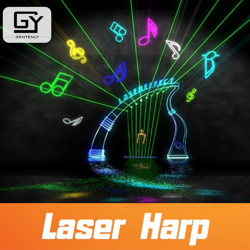 Room escape prop playing laser harp touch the laser beam with right rhythm sequence to escape