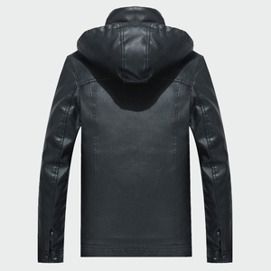 Image 3 - Mens Leather Jackets Winter Warm PU Hooded  Coats Plus Thick Windproof Biker Motorcycle Outerwear Brand Clothing M 4XL