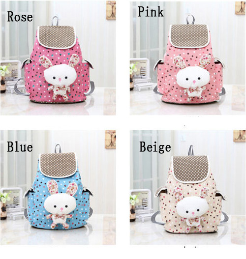 Cute Girl Canvas School Bag Travel Cute Backpack Satchel Women Shoulder Rucksack Rabbit